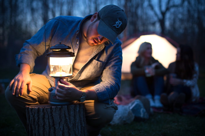 location photography, outdoor photography, lifestyle photography, outdoor lifestyle, camping photography, camping, campfire, lantern, coleman lantern
