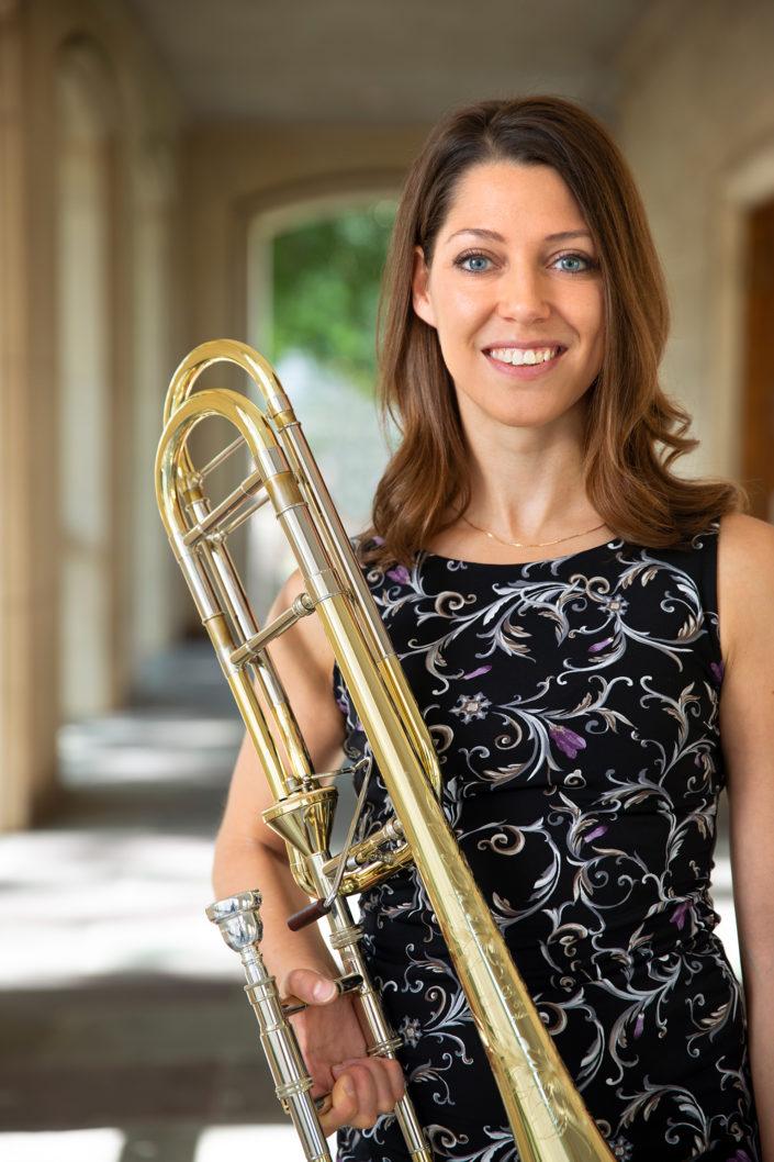 Professional portrait, portrait, environmental portrait, Dr. Megan Boutin, Principal Trombone, Freelance Trombonist, Educator, TAMUK